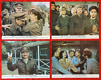 """CARRY ON ENGLAND - Complete set of 8 mint ORIGINAL 11"""" x 14"""" 1976 Lobby Cards"""