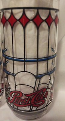 Set of 4 Vintage 70's Pepsi Cola glasses Stained glass look. Excellent condition