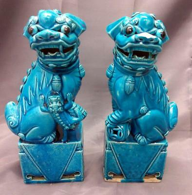 Pair of Two 2 Old Vintage Blue Art Pottery Chinese Foo Dog Statues Asian China