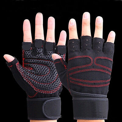 1 pair Weight lifting Gym Gloves Training Women Mens Wrist Wrap Exercise Sports