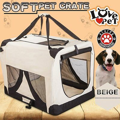 Portable Foldable Soft  Dog Cat Crate cage Kennel Travel Beige