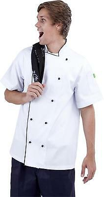 Traditional White Short Sleeve Chef Jacket Unisex Black Trim Short Sleeve Chef J
