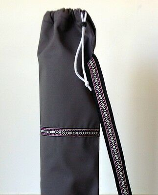 Grey Yoga / pilates mat bag with Purple / Multi-coloured woven aztec stripe 100%