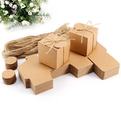 100Pcs Rustic Kraft Paper Candy Gift Boxes Wedding Birthday Baby Shower Favor