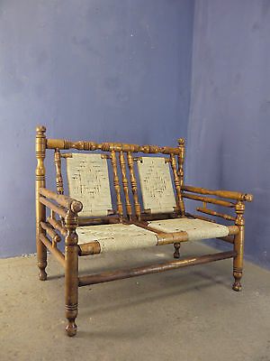 STUNNING RARE VINTAGE 1960s GARDEN PATIO WOODEN TWO SEATER SOFA  WOVEN ROPE SEAT