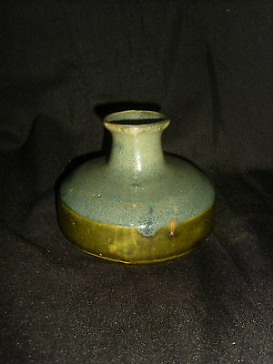 Stunning Small Blue & Green Studio Pottery Flask
