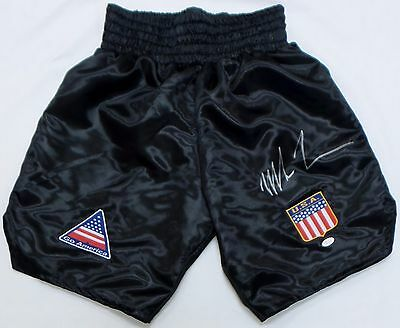 Mike Tyson Signed Autographed Black Boxing Trunks JSA Authenticated