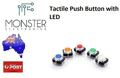 10Pcs Tactile Push Button Switch Momentary 12X12X7.0mm With LED lights 5 Colours