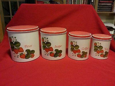 Vintage Tin Canisters Strawberries Set of Four Excellent