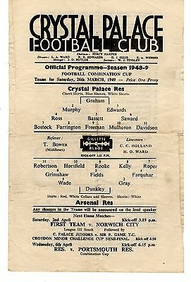 Crystal Palace v Arsenal Reserves Programme 26.3.1949 Combination Cup