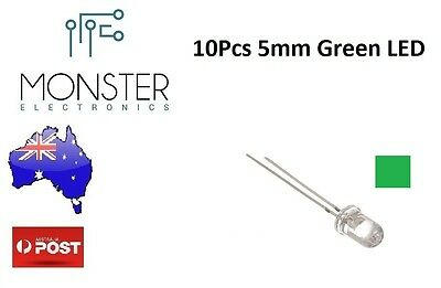 10Pcs 5mm Round Super Bright Clear LED Green (Arduino)