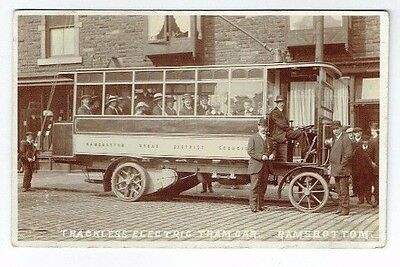 Old Postcard Ramsbottom Trolley Bus / Trackles Car Real Photo Vintage Used 1922