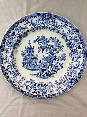 Chinese Pagoda Blue & White Porcelain Plate