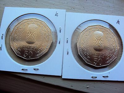 2 (two) 2014 Unc Aiatsis 50 Cent Coins (k)