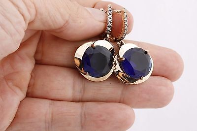 Turkish Handmade Jewelry Round Sapphire Rose Gold 925 Sterling Silver EarRings