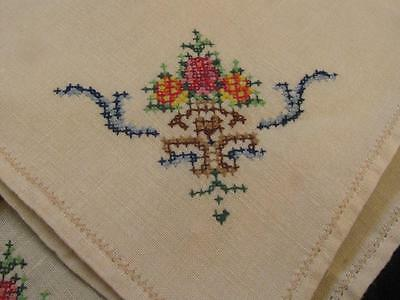Set of 6 Vintage Linen Table Napkins Cross Stitched Shabby Chic