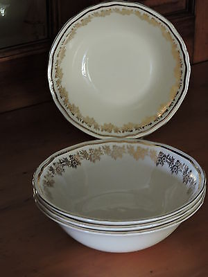 4 x Vintage ALFRED MEAKIN England Scallop Rim Gold Pattern Bowls