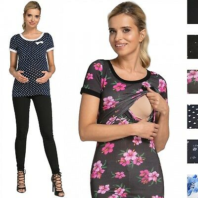 Happy Mama. Women's Maternity Nursing Double Layer T-shirt Contrast Detail. 996p