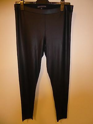 Womens M&S Limited Collection semi-shiny smooth black leggings size 14 VGC