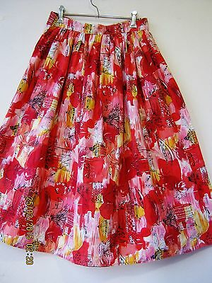 Fab 60S 'mad Men' Cotton Novelty Print Pink, Red, Yellow Full Skirt. Sz 10.