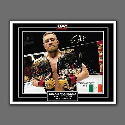 Conor McGregor, UFC Champion, 2 Belts, Autograph Glossy Replica, 8.5 by 11 in