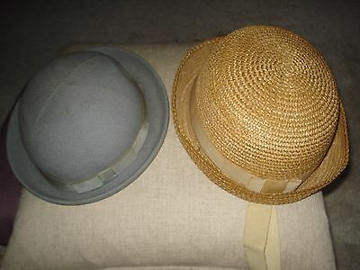 Vintage Childrens Dolls Clothes School Hat Felt Straw Boater 1950s 3 4 years old