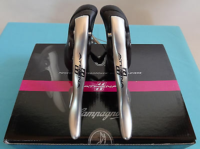 Campagnolo Athena 11 Silver Power shift Ergopower shift lever set w/ cables NEW