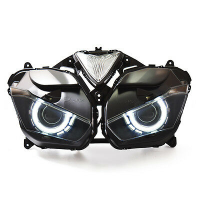 KT LED Angel Halo Eyes Projector Headlight Assembly for Yamaha YZF R25 2015+