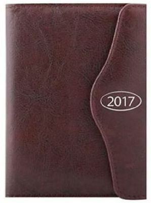 2017 Diary A5 Executive Leather Effect Day A Page Monthly Indexed Dark Brown