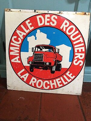 Original French vintage Amicale des Routiers double sided enamel sign