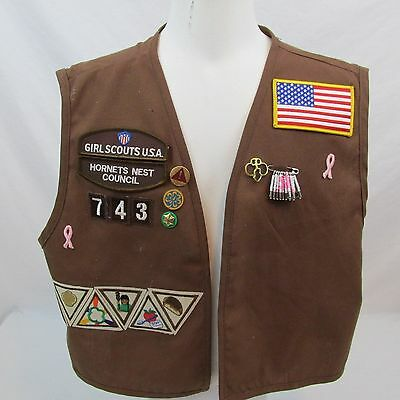 Girl Scouts Brownie Vest with pins and patches