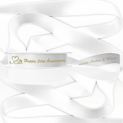 Customised White Ribbon - Gold / Silver / Red Print.  15mm x 2 or 3 metres.