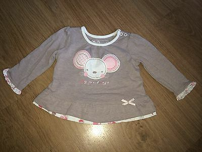 Baby Girl Motive Top - Pink And Beige Long Sleeved - Up To 3 Months