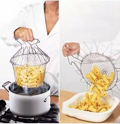 Professional Chef Basket Cooking Draining Colander Steamer Cookware Cook New