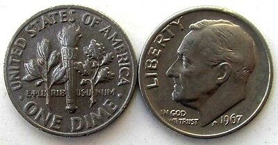 Usa Coins, Lot Of 2, One Dime 1967, Roosevelt