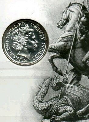2013 Fine .999 Silver £20 twenty pound coin : St George and the Dragon - 15.7g