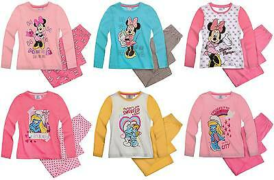 Girl's Babies Disney Minnie Mouse Smurfs Pyjamas Set NWT Ages 2-10 Years