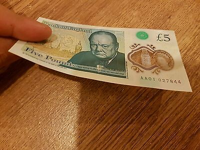 Uncirculated 2016 £5 Five Pound AA01 02 Bank Note