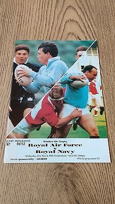 Royal Air Force v Royal Navy 1993 Rugby Union Programme