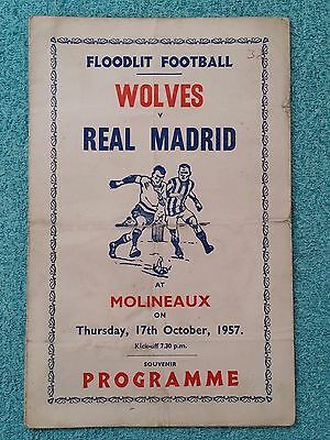 1957 - WOLVES v REAL MADRID PROGRAMME - PIRATE EDITION (VICTOR)