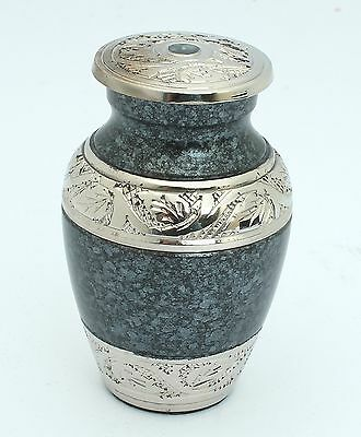 Mini Ashes Cremation Urn, Funeral Memorial small keepsake, Blue/Grey and Silver