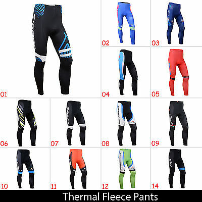 New Mens Cycling Tights Fleece Thermal Cold Wear Padded Legging Cycling Pants