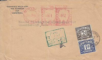 M 1894 UK 3d postage due stamps 1961 meter cover error