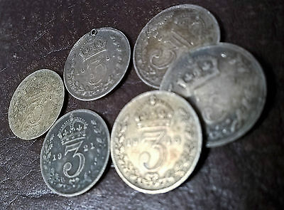 Job Lot Queen Victoria / King George Silver Threepence Three Pence