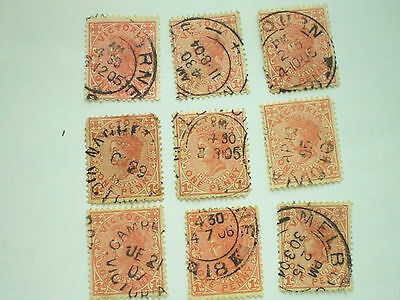 Australia Victoria 9 used stamps with post marks