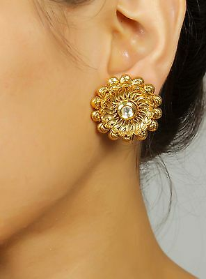7264 Indian Bollywood Gold Plated/Tone Round Party Wear Designer Earrings Set
