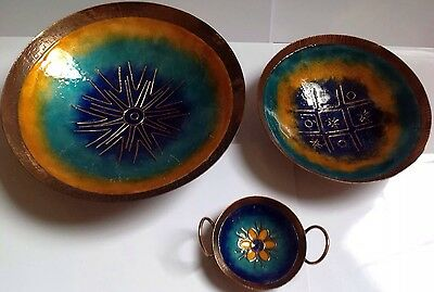 3 Vintage Enamel On Copper Items - Large Bowl - Candle Holder - Small Bowl