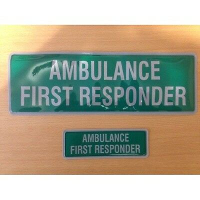 Encapsulated reflective 300mm badge set AMBULANCE FIRST RESPONDER slide in style
