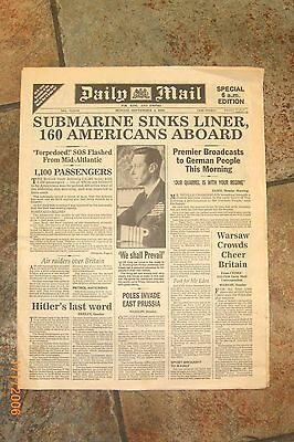 HISTORIC  ORIGINAL old  Newspaper DAILY MAIL 1939.  ATHENIA  SUB SINKS LINER
