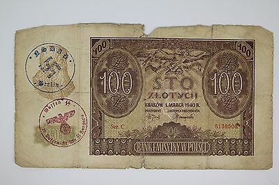 Poland Germany occupation WWII/WW2 banknote